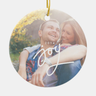 Joy overlay photo circle ornament