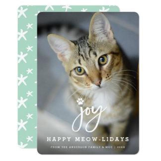 Joy Paw Print Brush Cat Lover Holiday Photo Card