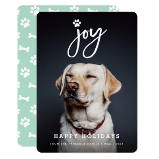 Joy Paw Print Brush Dog Lover Holiday Photo Card 13 Cm X 18 Cm Invitation Card