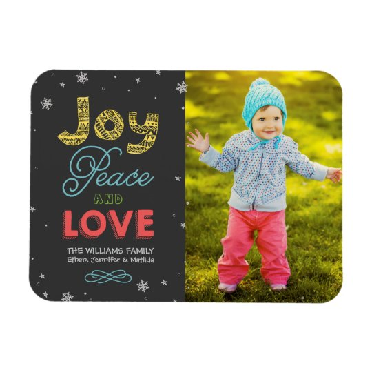 Joy Peace and Love | Holiday Photo Greeting Magnet