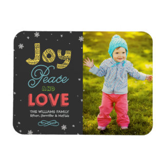 Joy Peace and Love | Holiday Photo Greeting Rectangular Photo Magnet