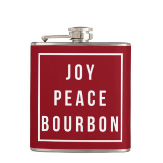 Joy Peace Bourbon | Red & White Funny Holiday Hip Flask