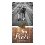 Joy Peace Christmas Wishes Photo Wood Pinecones Personalised Photo Card