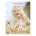 Joy Peace Gold Christmas   Holiday Photo Card Postcard