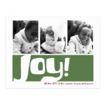 Joy & Peace Holiday 3 Photo Triptych Postcards