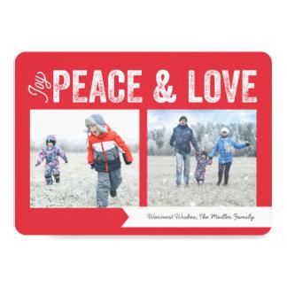 Joy Peace Love Banner 2-Photo Holiday Card