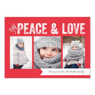 Joy Peace Love Banner 3-Photo Holiday Card