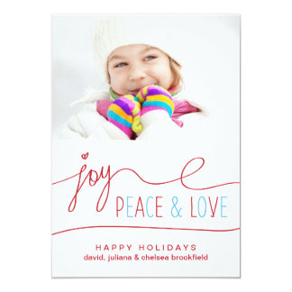Joy Peace & Love Christmas Letter Photo Flat Card Personalized Invitations