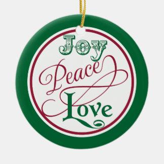 Joy Peace Love Christmas Ornaments