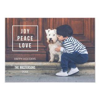 Joy Peace Love | Modern Holiday Photo Card 13 Cm X 18 Cm Invitation Card