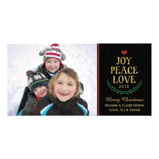 Joy Peace Love Simple Faux-Glitter Photo Card