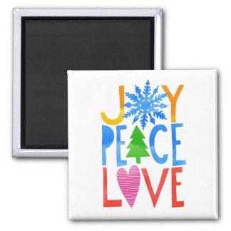 JOY PEACE LOVE SQUARE MAGNET