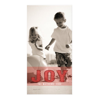 JOY PHOTO HOLIDAY GREETING CARD | RED GLITTER PHOTO CARD TEMPLATE