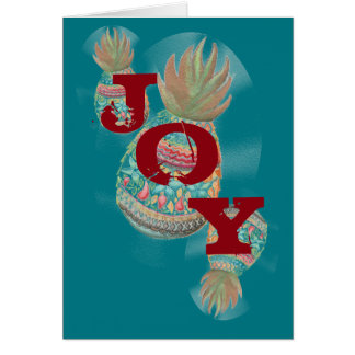 JOY Pineapple Christmas Card Aqua