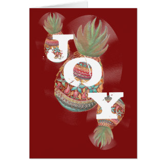 JOY Pineapple Christmas Card Dark Red