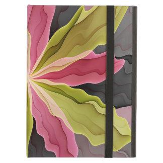 Joy, Pink Green Anthracite Fantasy Flower Fractal Case For iPad Air