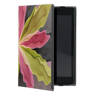 Joy, Pink Green Anthracite Fantasy Flower Fractal Case For iPad Mini