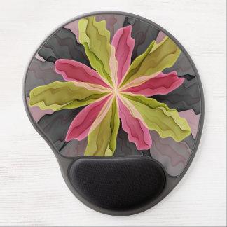 Joy, Pink Green Anthracite Fantasy Flower Fractal Gel Mouse Mat