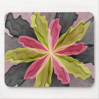 Joy, Pink Green Anthracite Fantasy Flower Fractal Mouse Mat