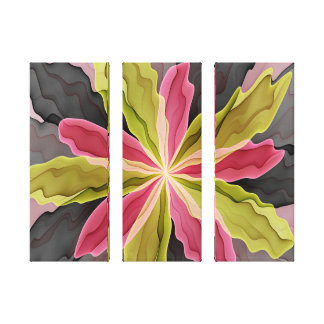 Joy, Pink Green Anthracite Fantasy Flower Triptych Canvas Print