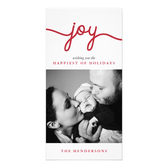 Joy Red Modern Script Christmas Photo Card