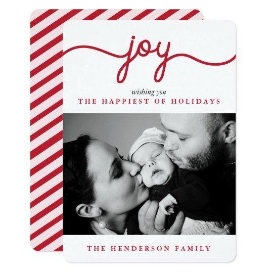Joy Red Modern Script Christmas Photo Card