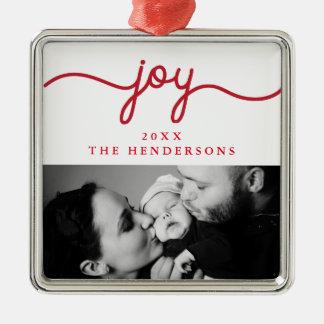 Joy Red Modern Script Photo Ornament