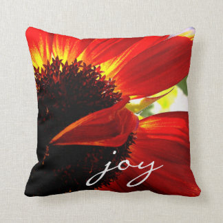 """Joy"" red orange daisy close-up photo throw pillow"