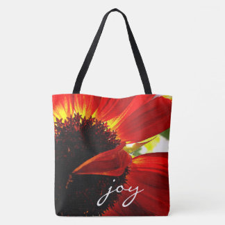 """Joy"" red orange daisy close-up photo tote bag"