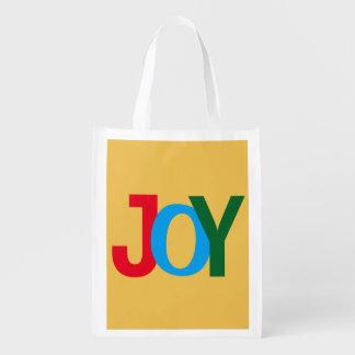 """""""JOY"""" Reusable Christmas Grocery Tote Bag"""