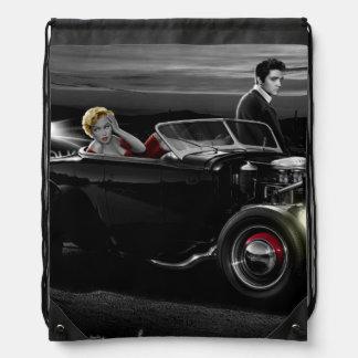 Joy Ride B&W 2 Drawstring Bag