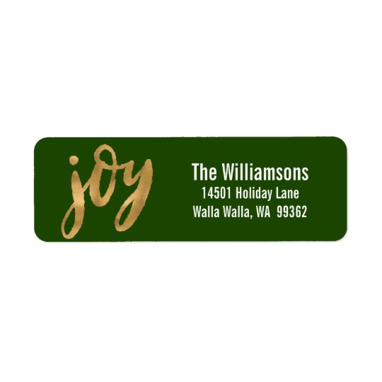 Joy Script Gold Green Custom Christmas Return Address Label