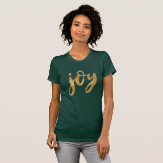 Joy Script Gold Green Custom Christmas T-Shirt