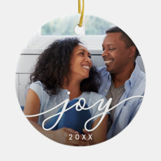 Joy Script | Photo Christmas Ornament