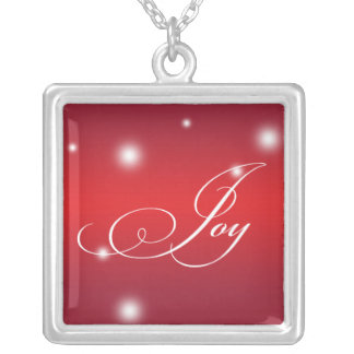 JOY sentiment elegant script red glow keepsake Square Pendant Necklace