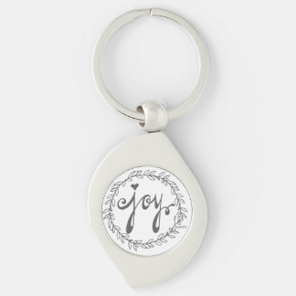 JOY   silver key chain Silver-Colored Swirl Key Ring