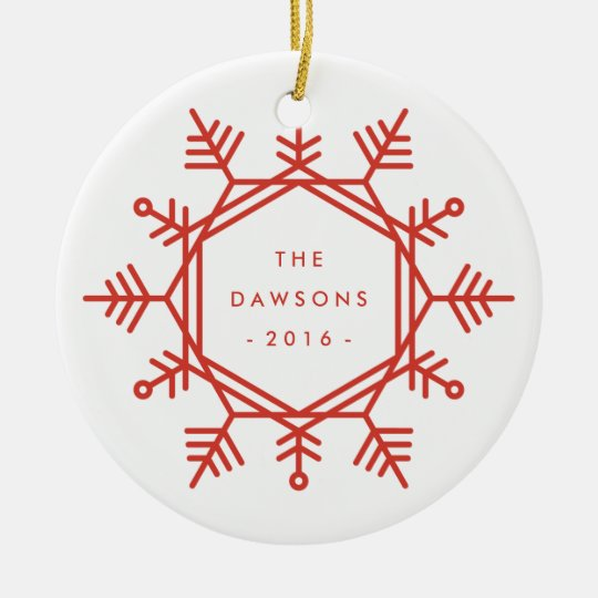 Joy Snowflake Ceramic Ornament - Crimson