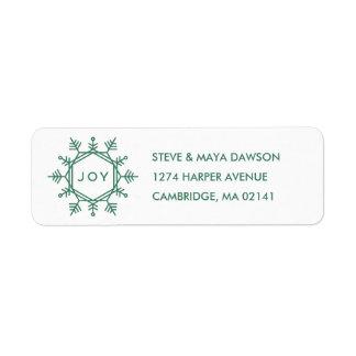 Joy Snowflake Holiday Address Label - Pine
