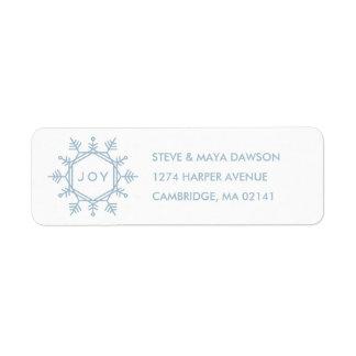 Joy Snowflake Holiday Address Label - Sky