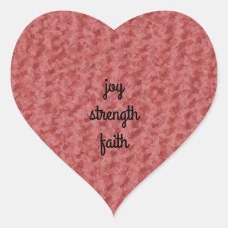 Joy strength faith heart sticker