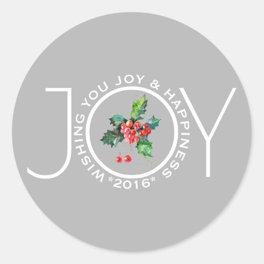 Joy Template With Mistletoe Light Grey Classic Round Sticker