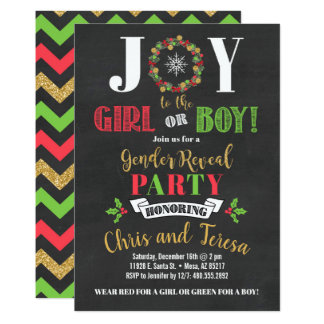 Joy to the Girl or Boy Gender Reveal Party Invite