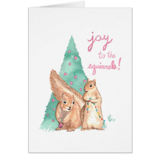 Joy to the Squirrels Christmas Holiday Card