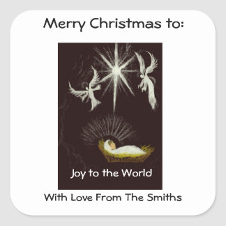Joy to The Word, Christmas, Custom, Gift Stickers