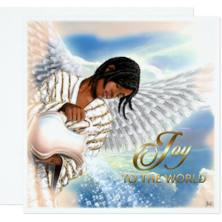 Joy to the World. Afro Angel Flat Christmas Cards