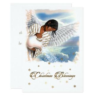 Joy to the World. Afro Angel Flat Christmas Cards 13 Cm X 18 Cm Invitation Card