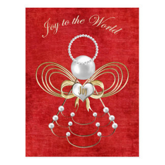 Joy to the World - Angel of Joy - Red Postcard