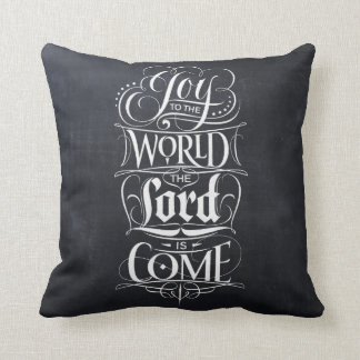 Joy to the World Chalkboard Lettering Typography Cushion