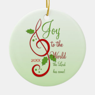 Joy to the World Christian Christmas Carol Dated Double-Sided Ceramic Round Christmas Ornament