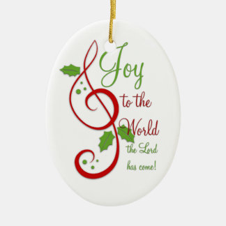 Joy to the World Christian Christmas Carol Music Double-Sided Oval Ceramic Christmas Ornament